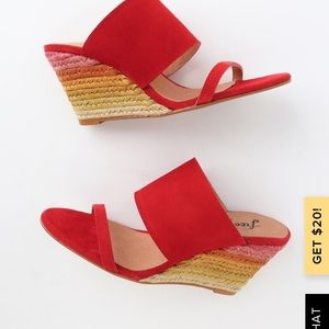 GLORIETA RED SUEDE LEATHER ESPADRILLE WEDGES